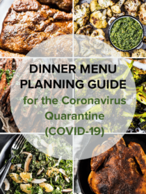 6 images from our dinner menu planning guide with the post title on the picture.