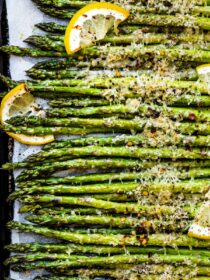 A close up of roasted asparagus.