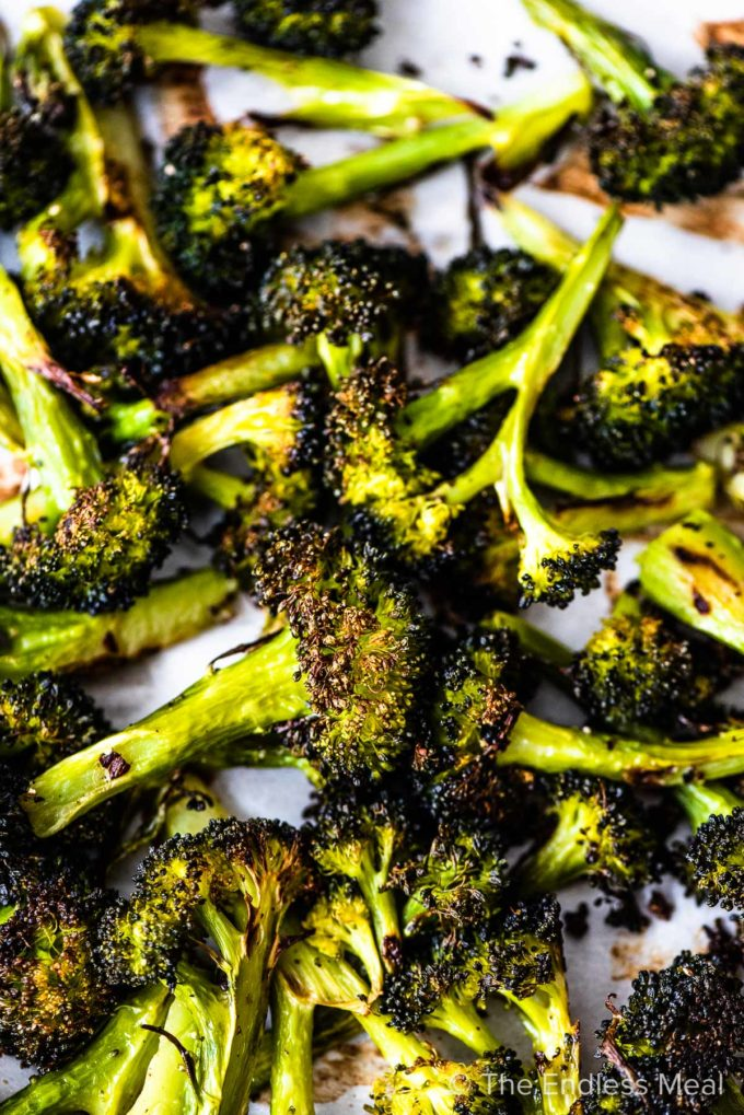 spears of roasted broccoli