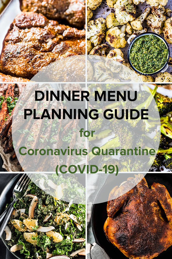 A grid of 6 photos in the dinner menu planning guide with a transparent circle in the middle with the title of the blog layered on top