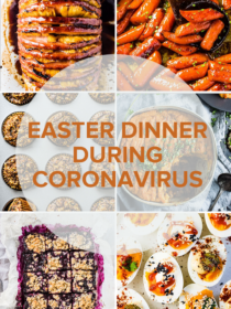 A grid of six photos of easter dinner recipes with a transparent circle on top and the title of the blog post