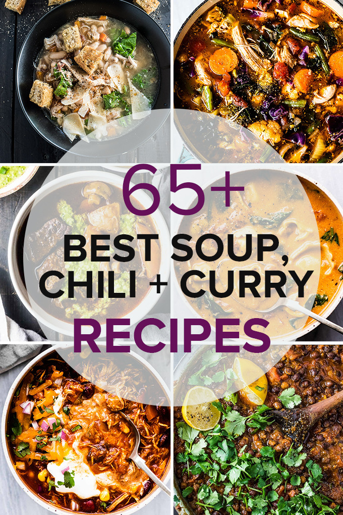 A grid of six photos of soup, chili, and curry recipes, with a transparent circle and the title of the post