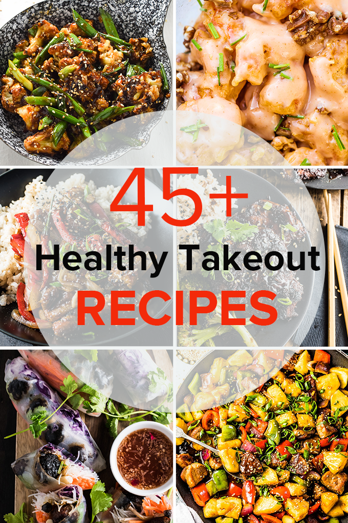 Six photos in a grid of takeout recipes with the title of the blog post over a transparent white circle