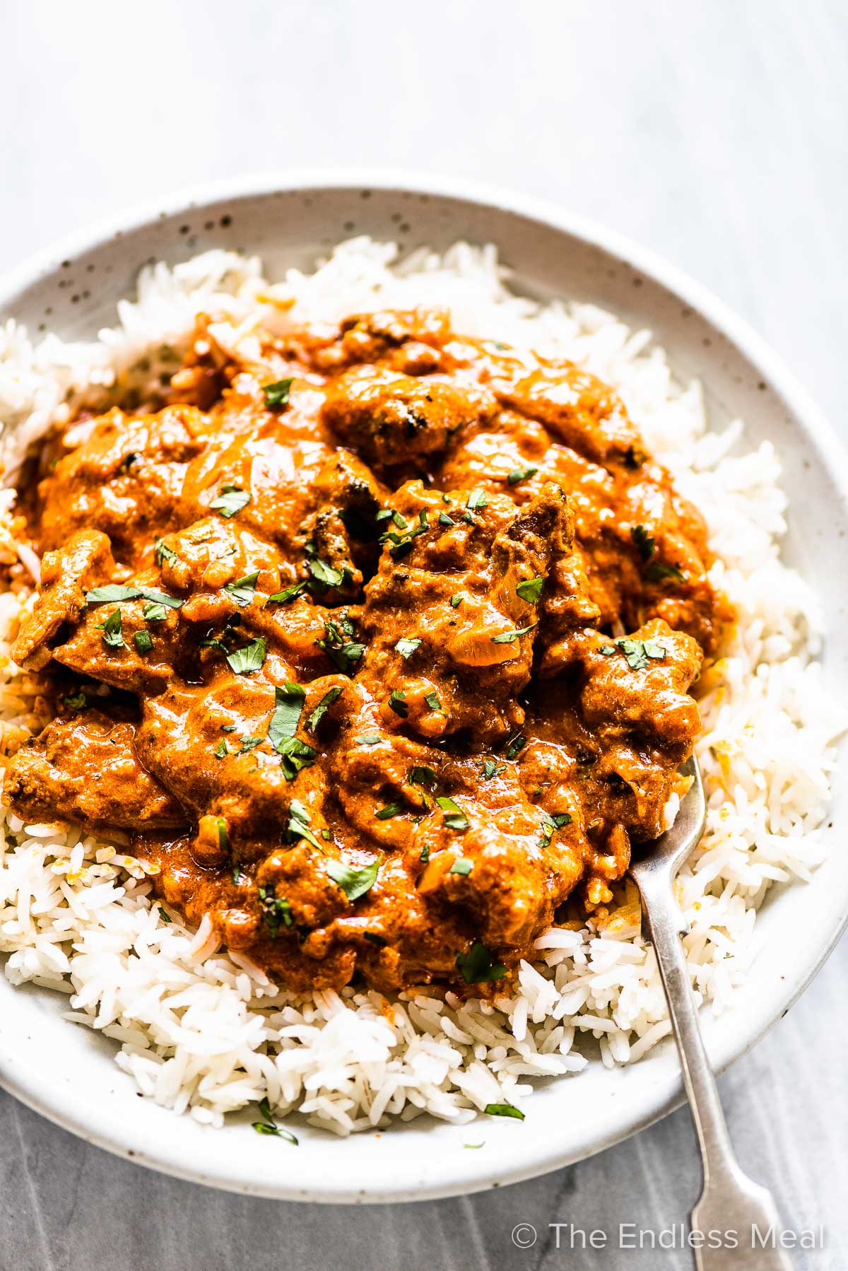 Chicken tikka masala on rice with a fork.