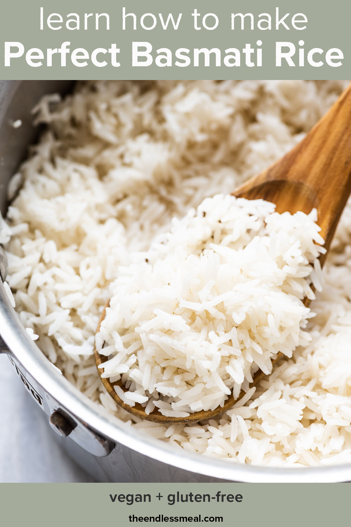 Perfect basmati rice in a pot with the words how to cook basmati rice on top of the picture.