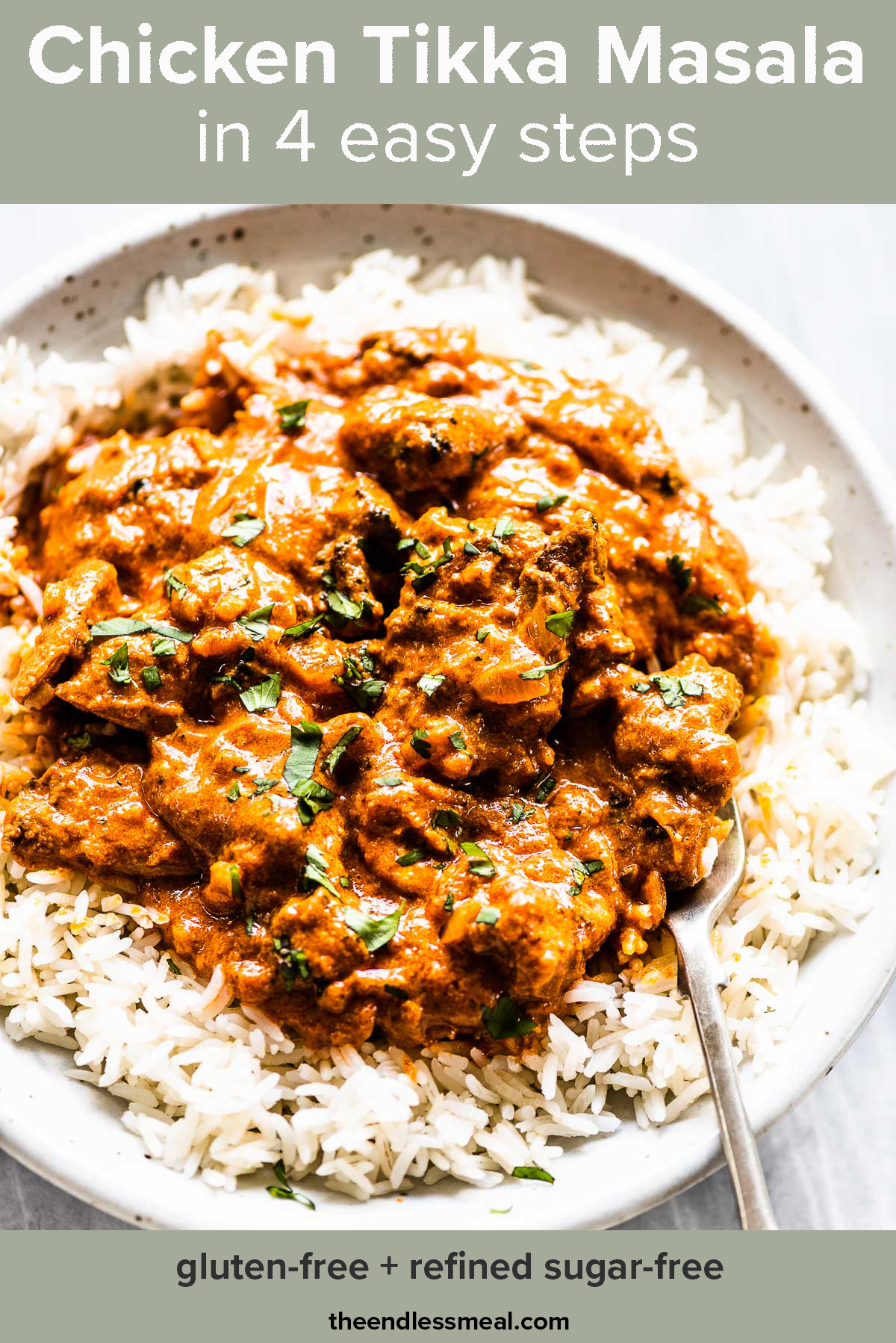 Chicken tikka masala on rice with a fork with the recipe title on top of the picture.