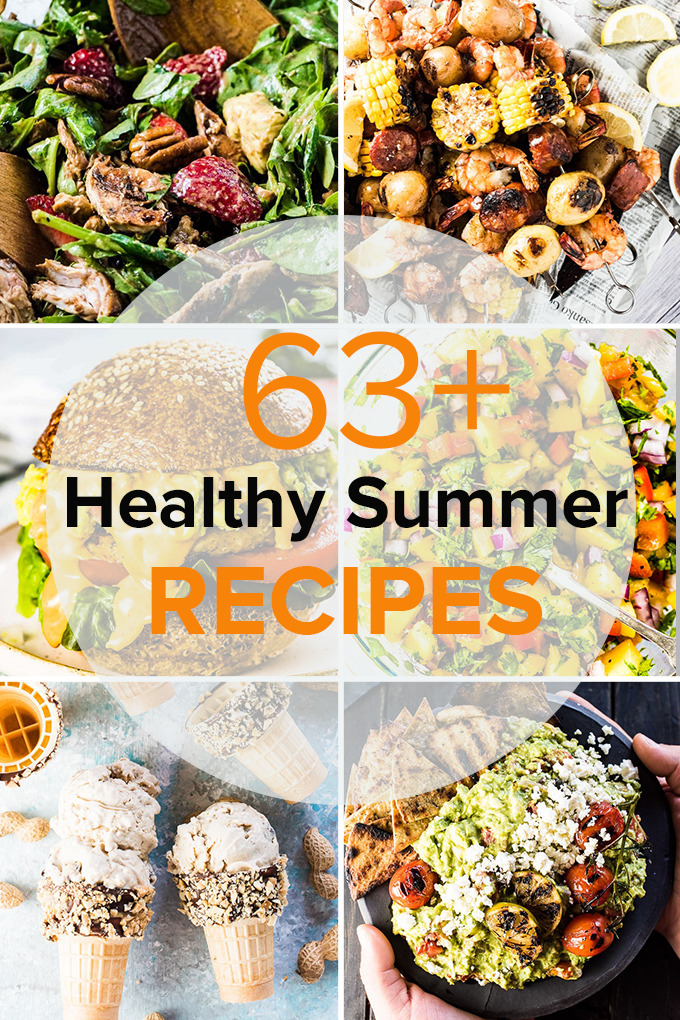 A collage of 6 recipes in this summer recipes roundup.
