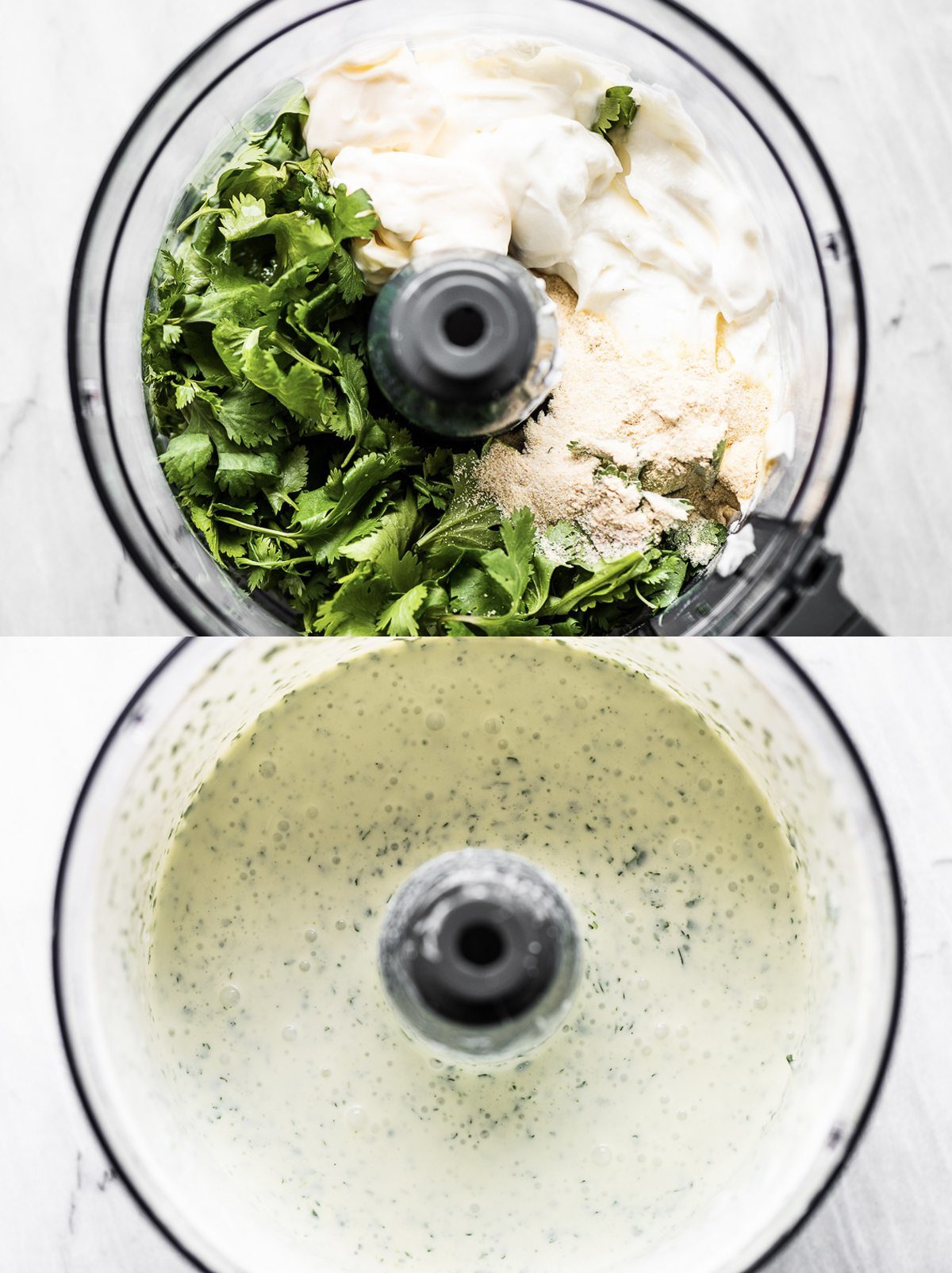 Making cilantro lime ranch dressing in a food processor.