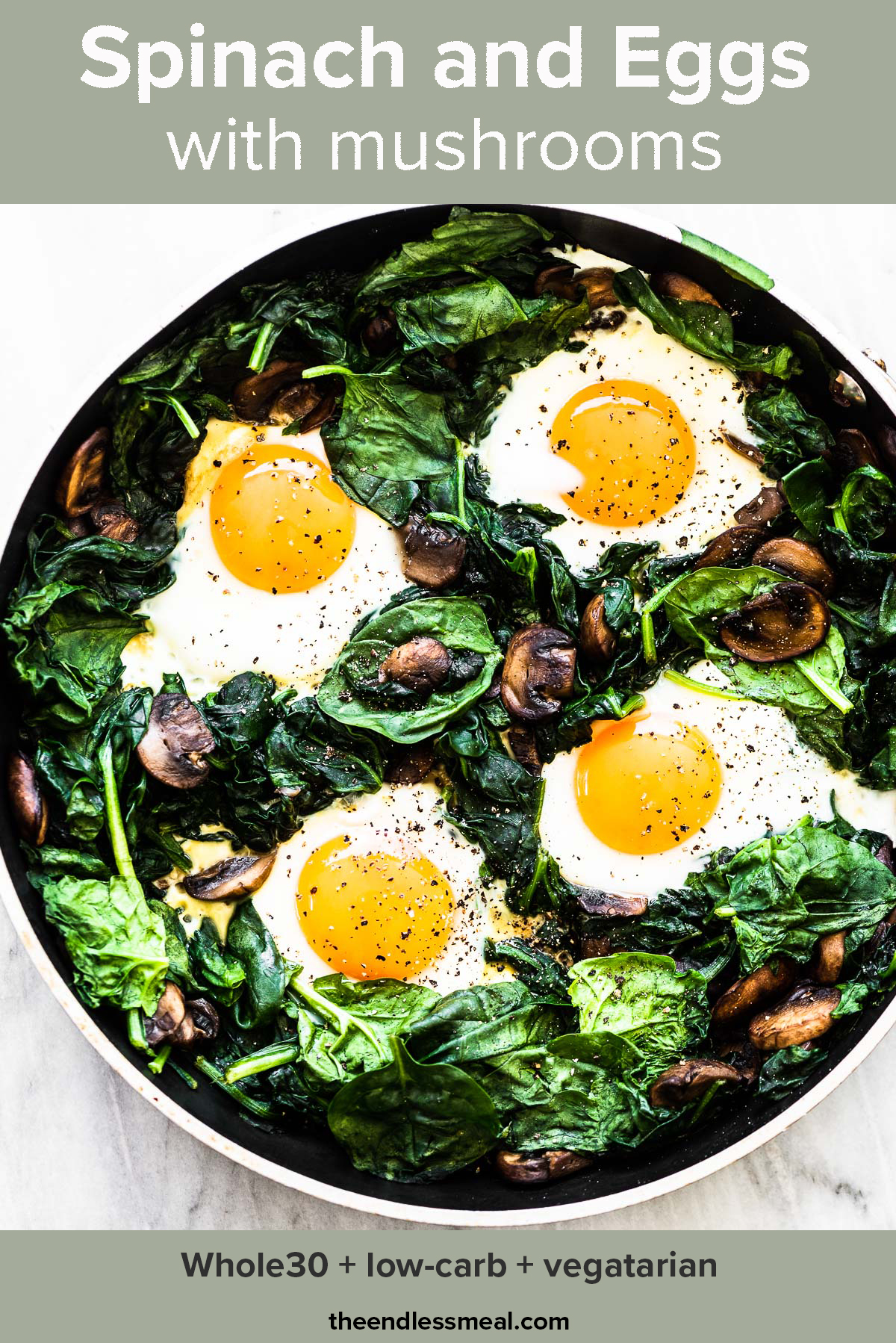 Spinach and eggs in a frying pan with the recipe title on top of the picture.