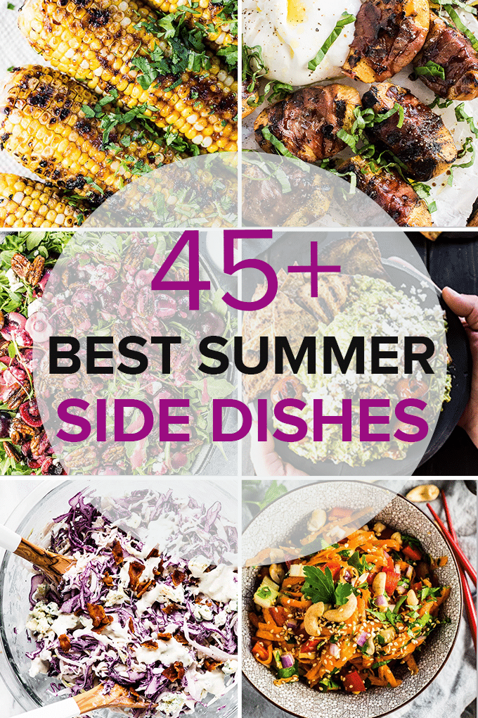 A grid of six photos of summer side dishes with the title of the post in the middle.