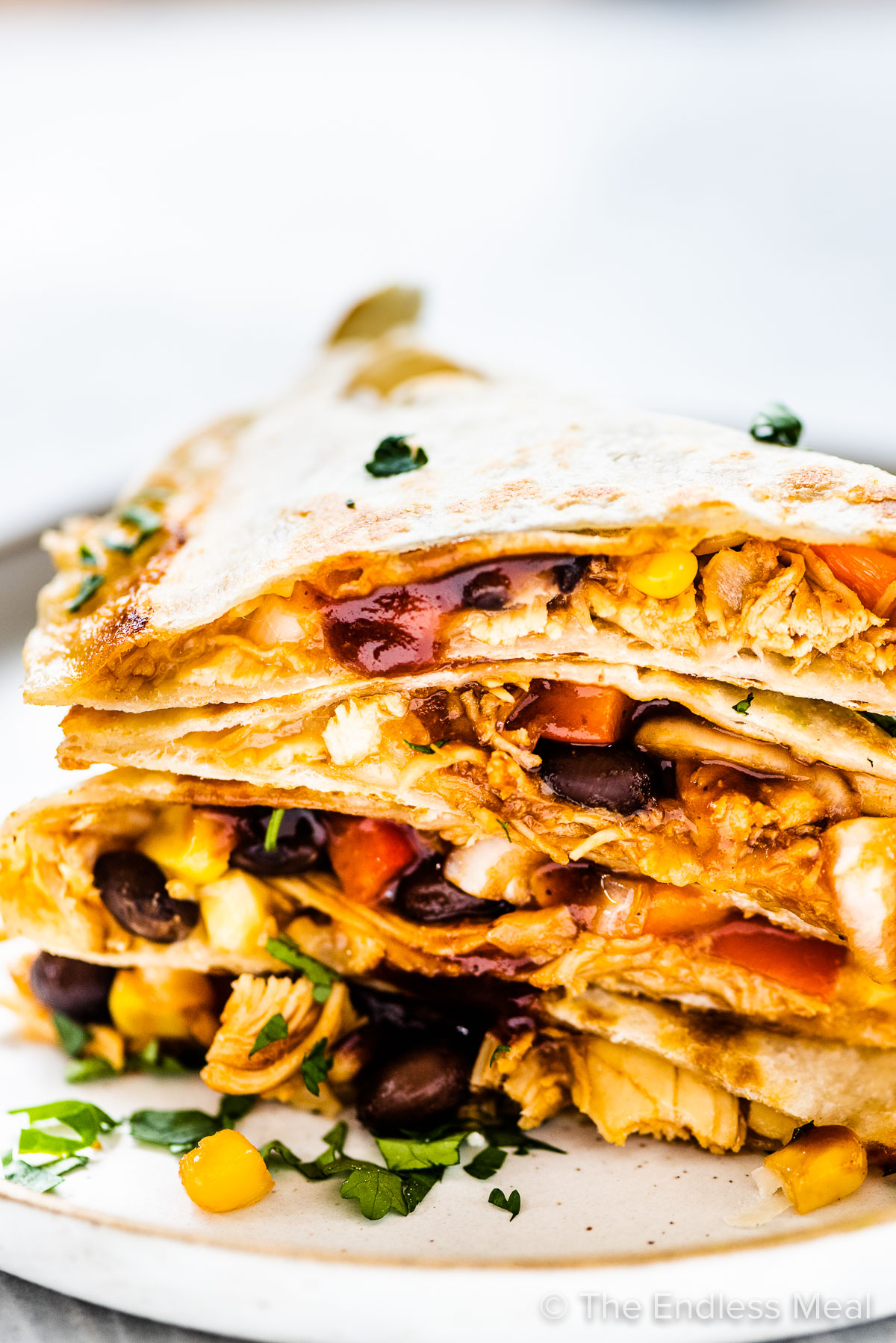 A stack of chicken quesadillas on a plate.