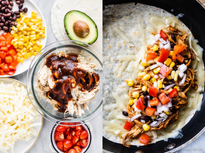 Two pictures showing the ingredients and how to make chicken quesadillas.
