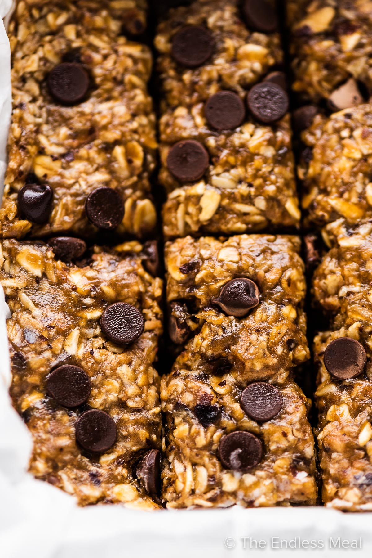 Homemade nut free granola bars in a pan.