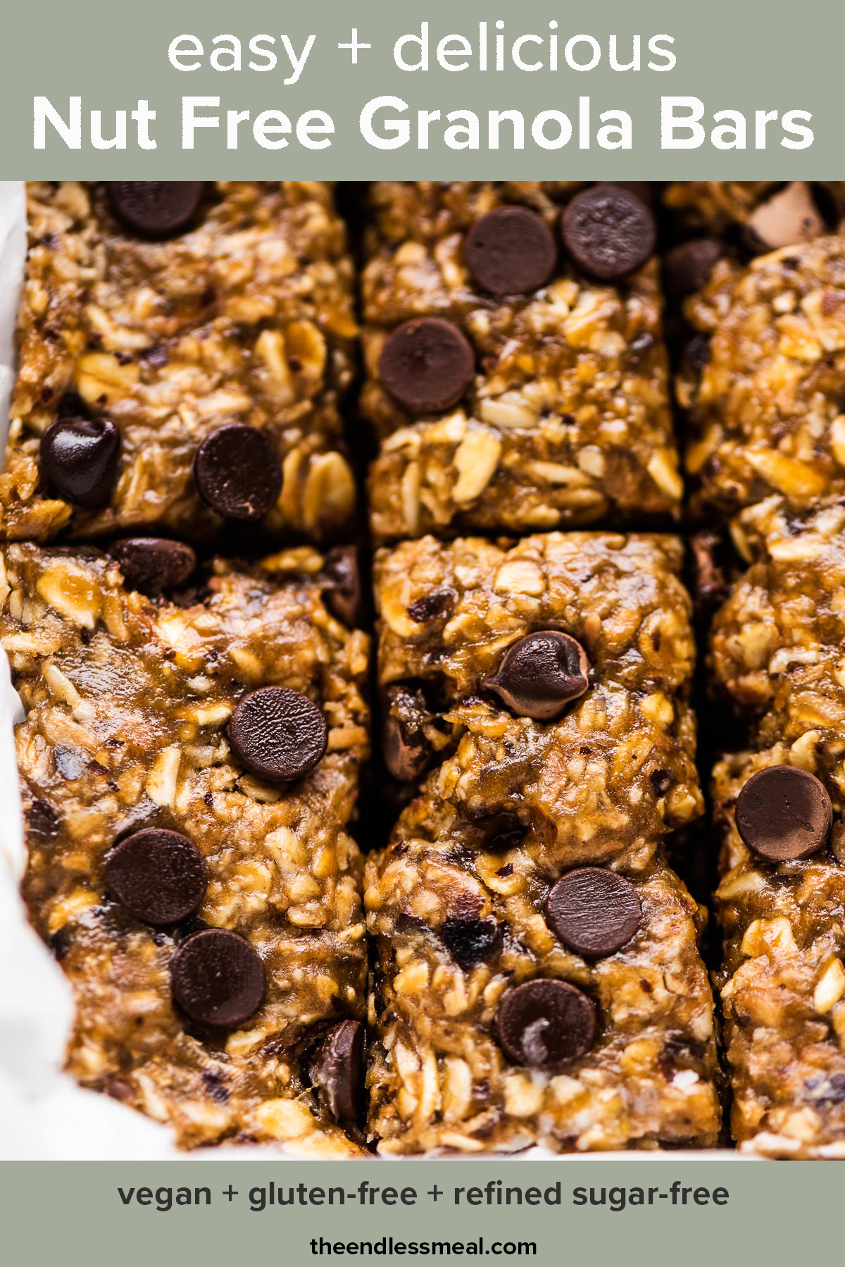 Homemade nut free granola bars in a pan with the recipe title on top of the picture.