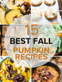 Main Image with six photos of pumpkin recipes for fall and the title of the blog post