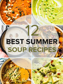 A grid of six photos of summer soup recipes with a transparent circle and a the title of the post.