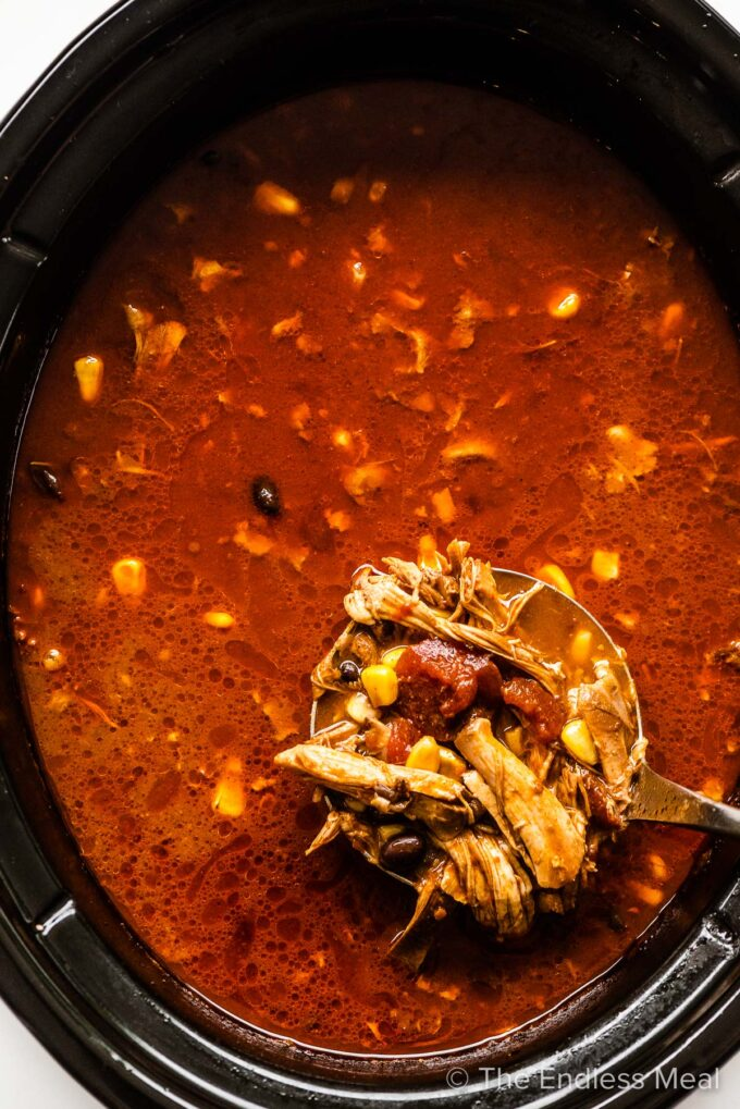 A ladle taking a scoop of chicken tortilla soup out of a pot.