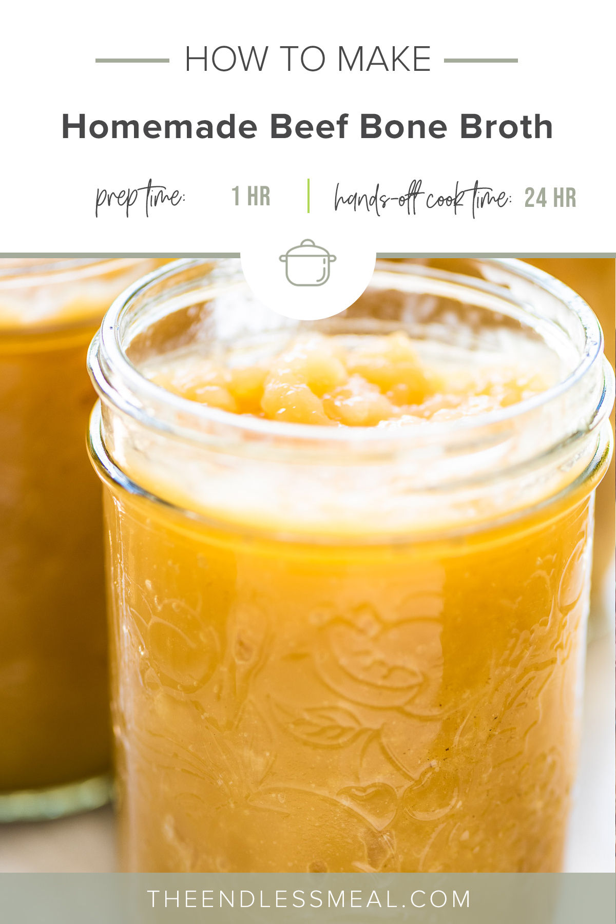 A glass jar filled with beef bone broth with the recipe title on top of the picture.