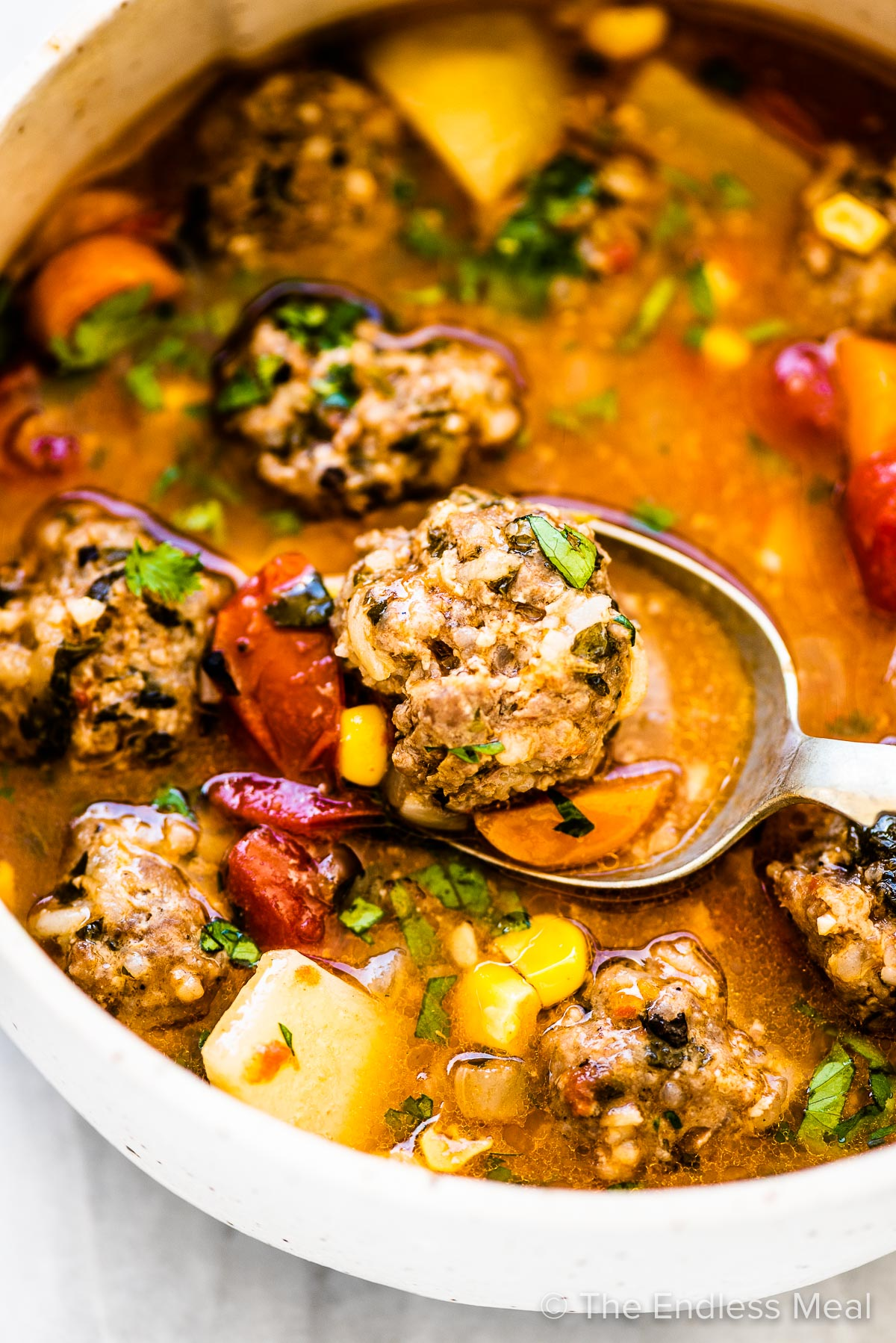 Mexican Meatball Soup (Albondigas Soup) in a white bowl with a spoon.