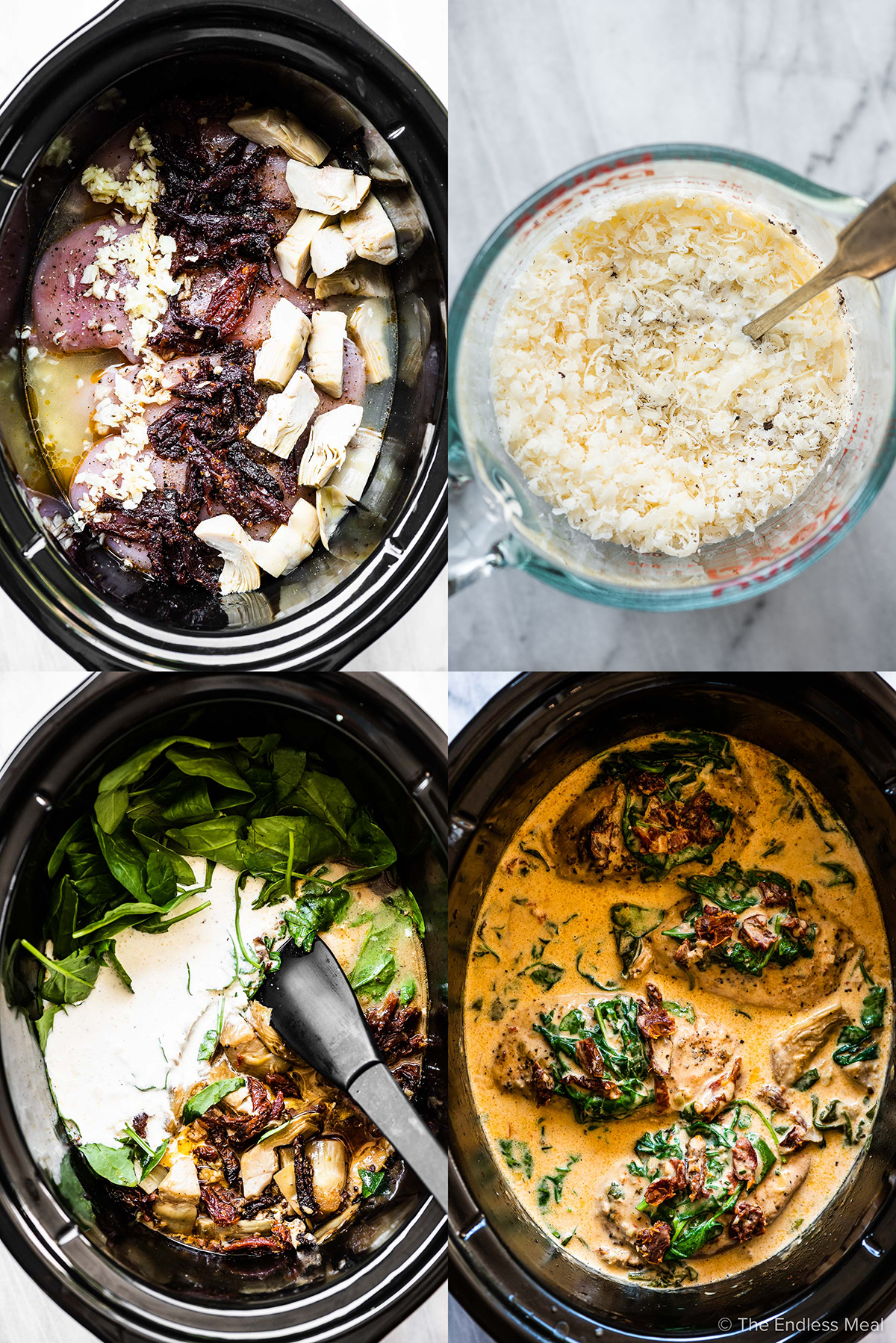 4 images showing the steps to make Crock Pot tuscan chicken