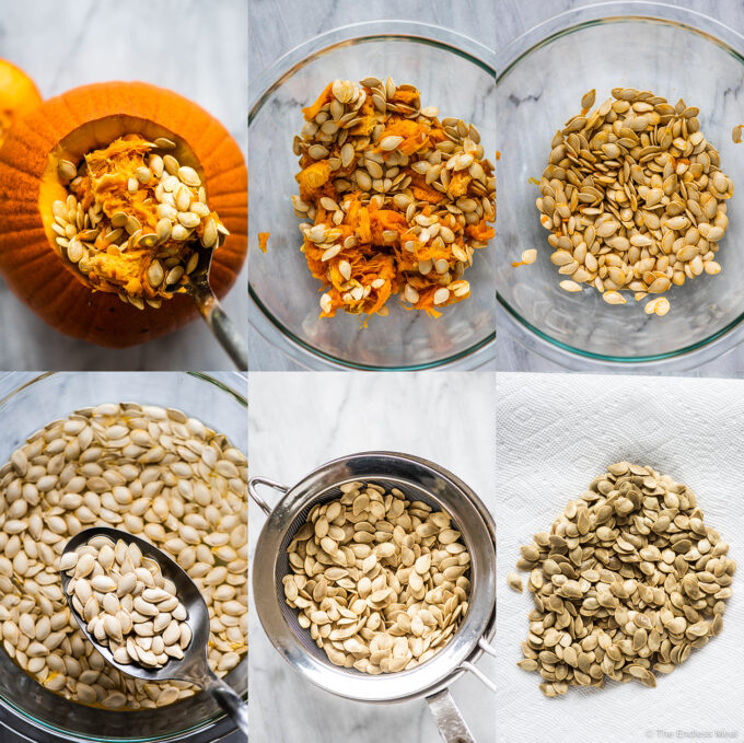 6 pictures showing how to roast pumpkin seeds.