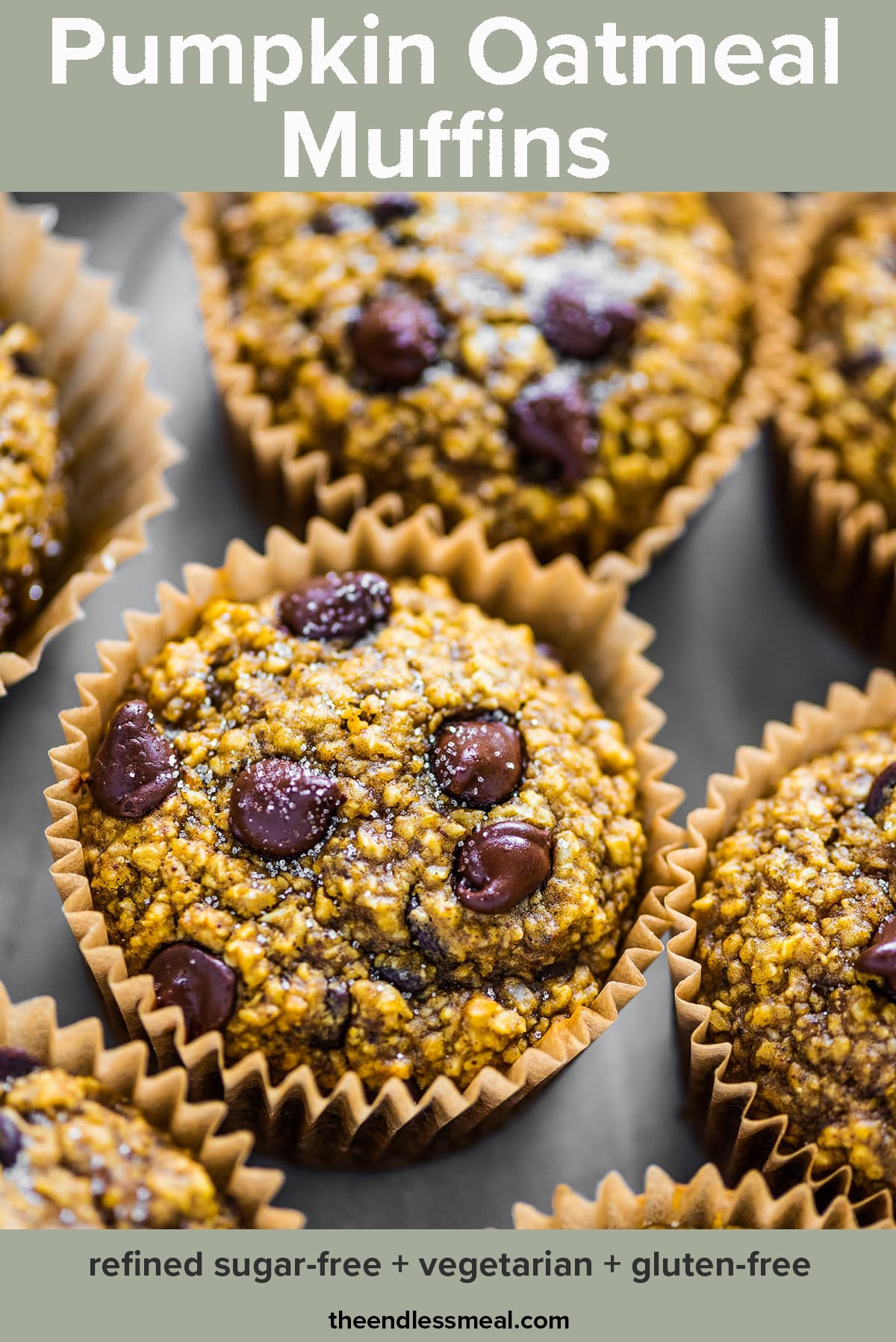 Pumpkin oatmeal muffins on a tray and the recipe title on top of the picture.