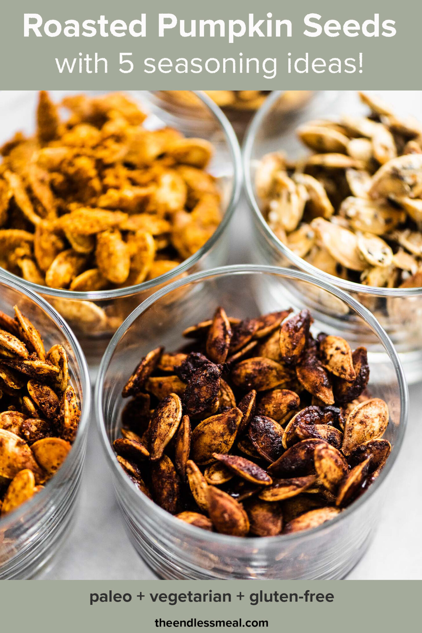 Flavored roasted pumpkin seeds in little dishes with the recipe title on top of the picture.