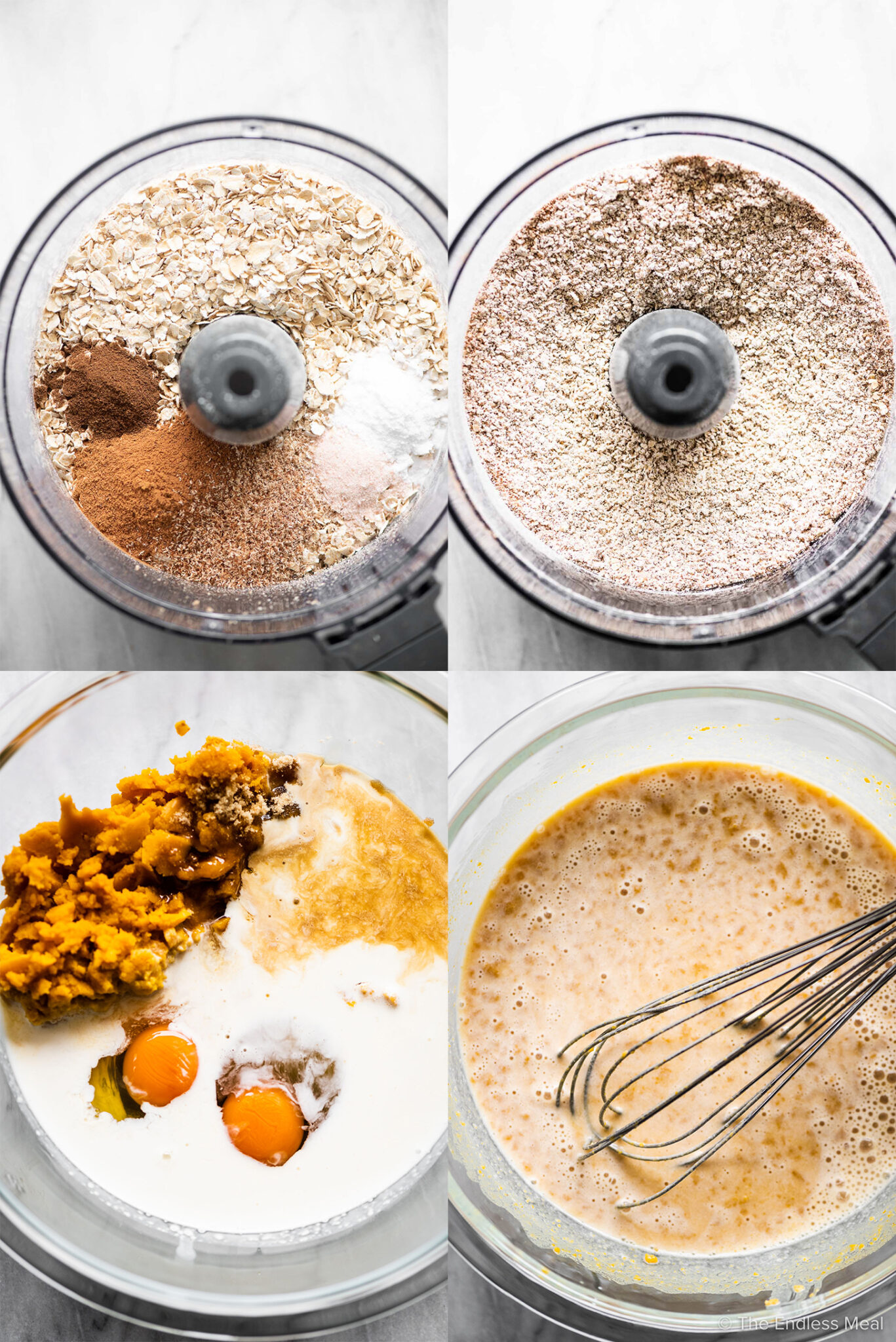 4 pictures showing the first steps in making pumpkin oatmeal muffins,