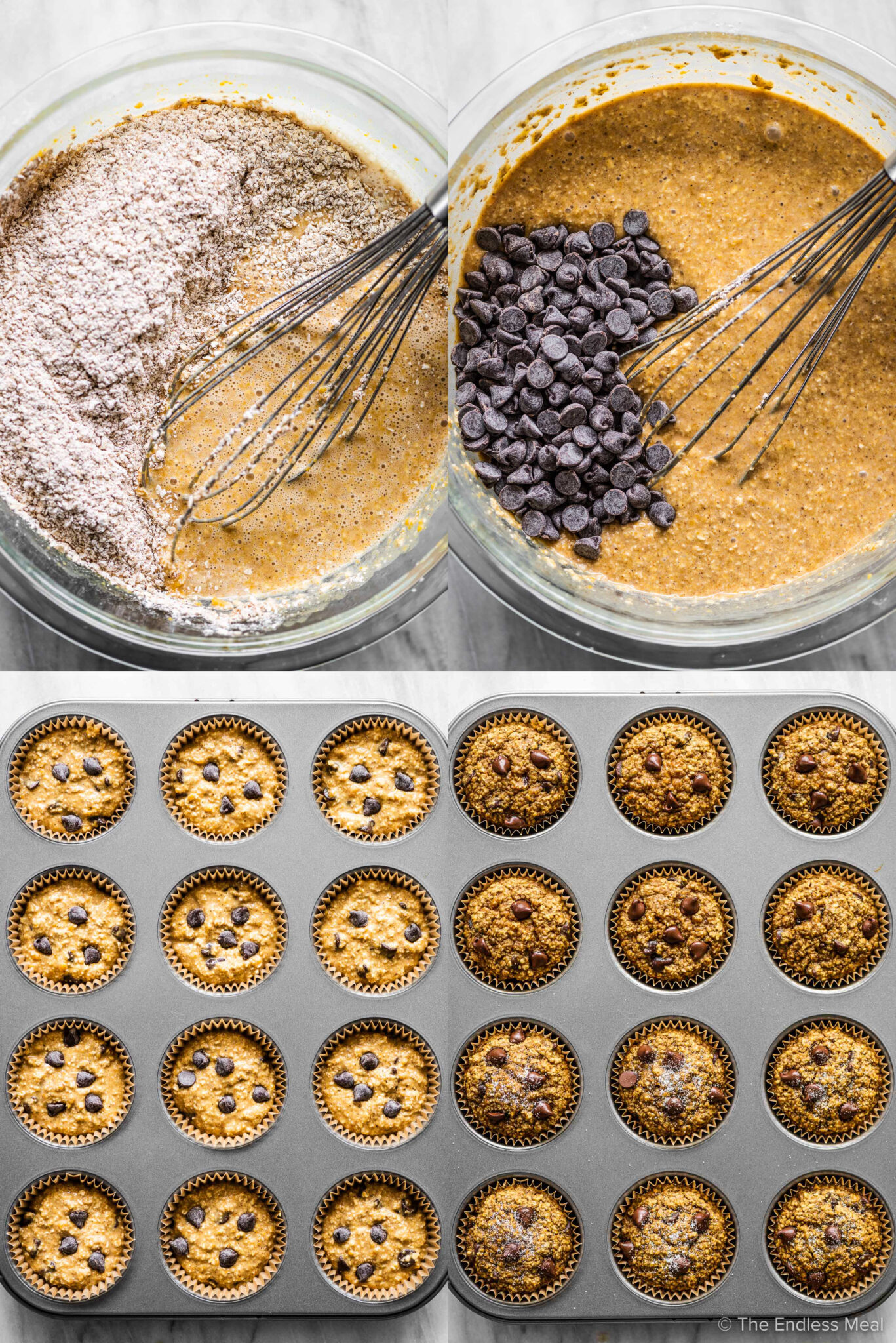 4 pictures showing the final steps in making pumpkin oat muffins.