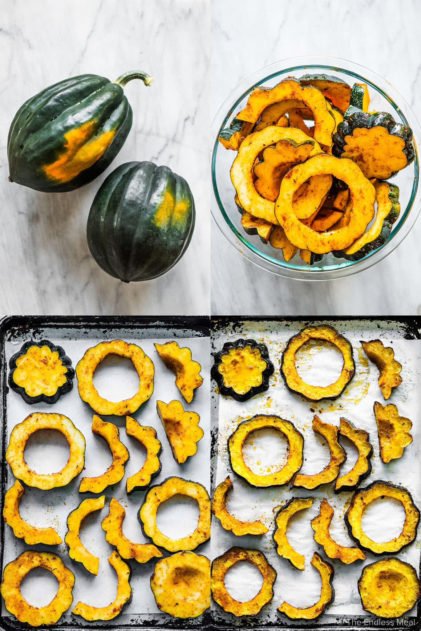 4 pictures showing how to bake acorn squash.