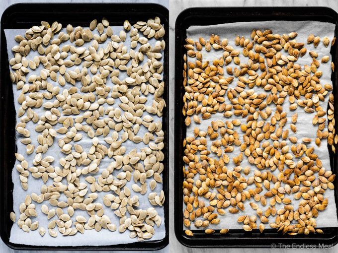 Before and after baking pumpkin seeds.