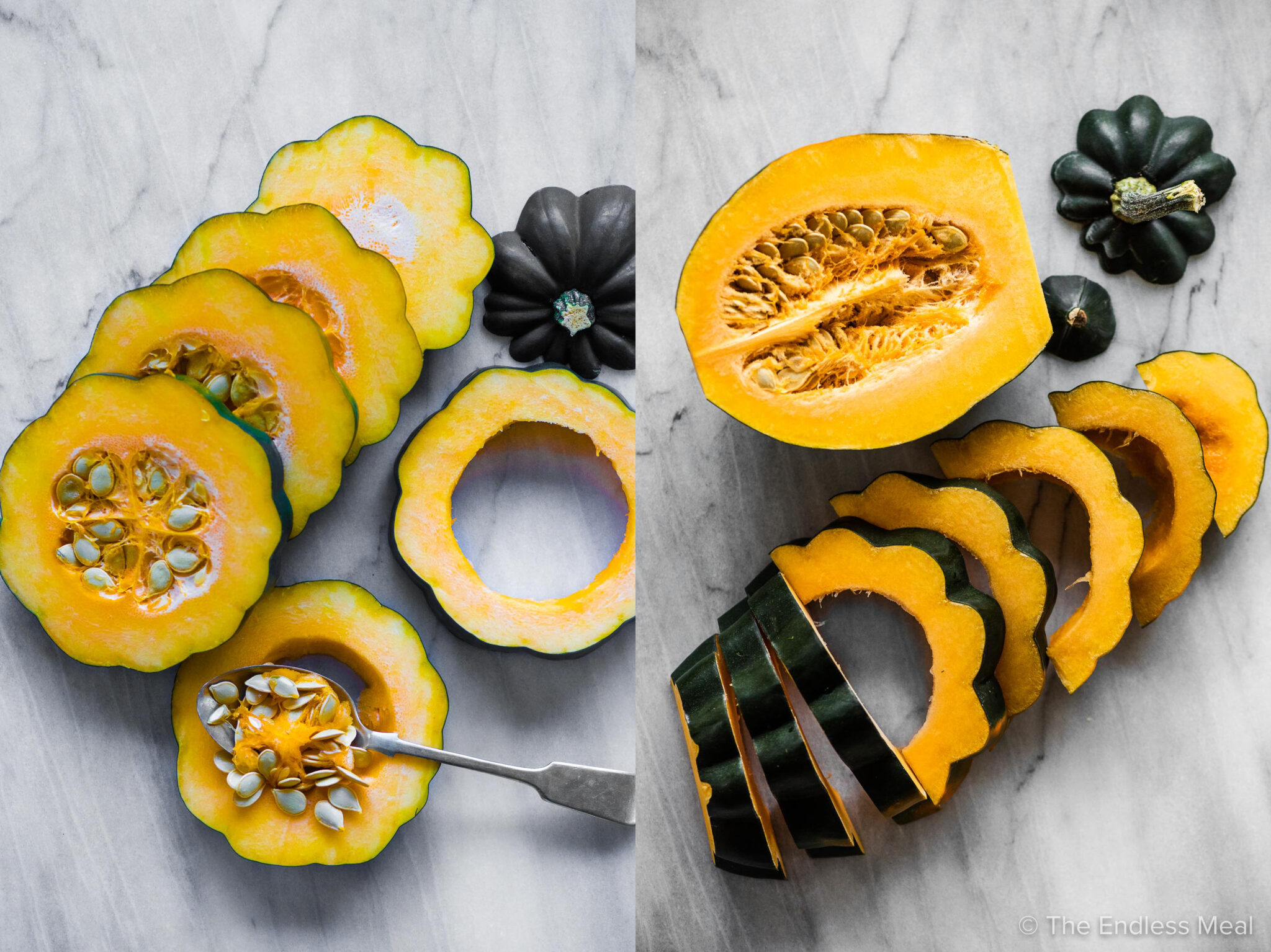 Two pictures showing two different ways to cut an acorn squash.
