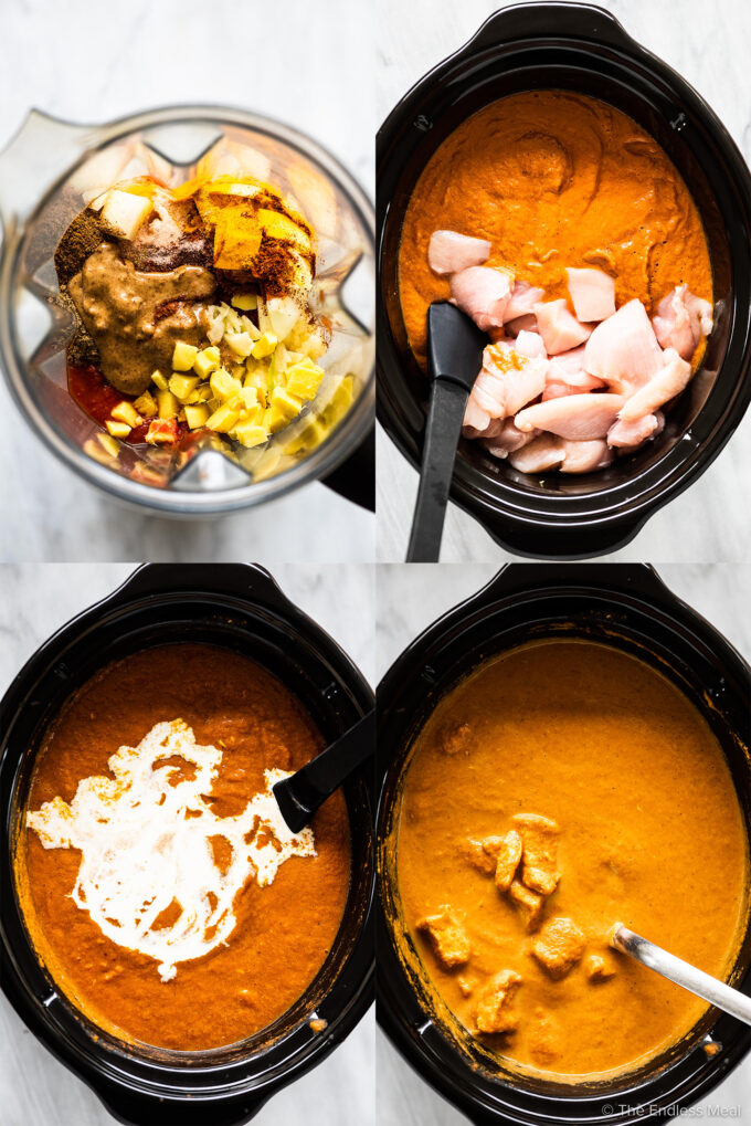 4 images showing how to make crockpot butte chicken.