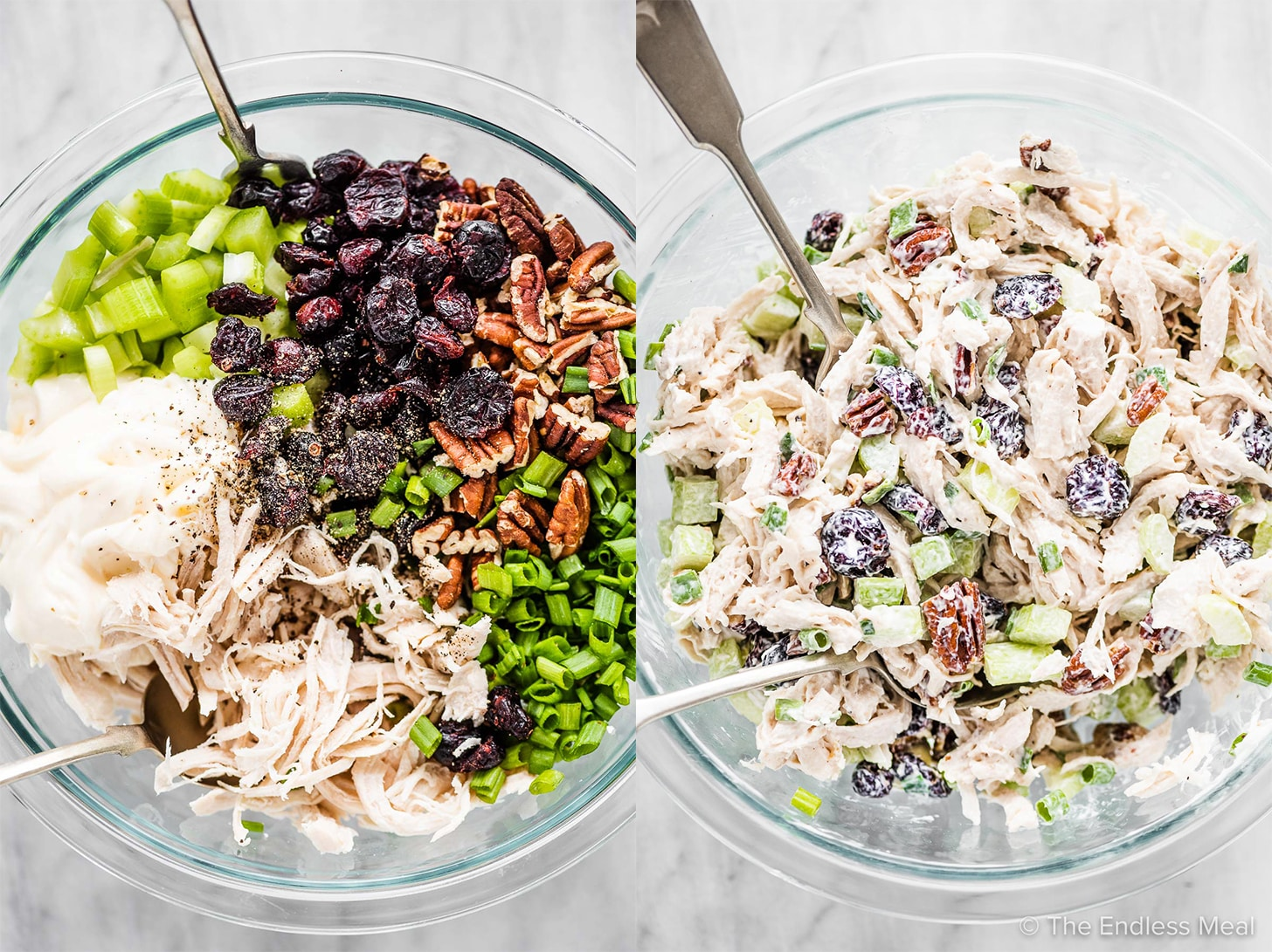 Two pictures showing the ingredients to make chicken salad then it mixed in a bowl.