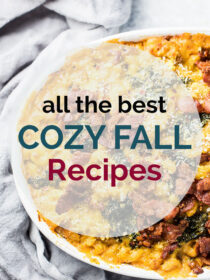 A dish of pumpkin pasta with the words all the best cozy fall recipes written on top.