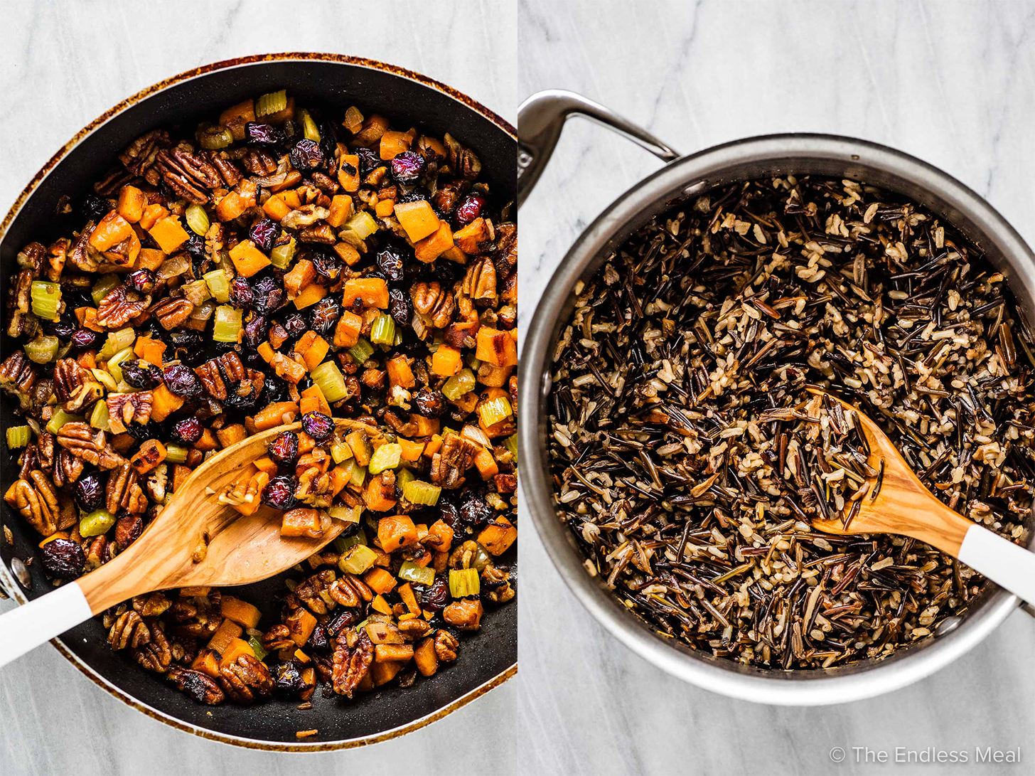 2 pictures showing the cooked wild rice and the sauteed veggies in a pan.