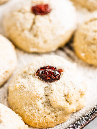 A closeup of gluten free shortbread cookies with dried cranberries on top on a baking sheet.