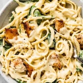 A white bowl filled with healthy chicken alfredo.