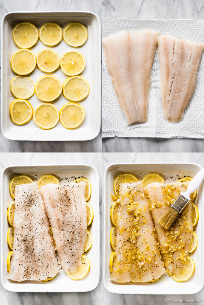 4 pictures showing how to make baked fish.