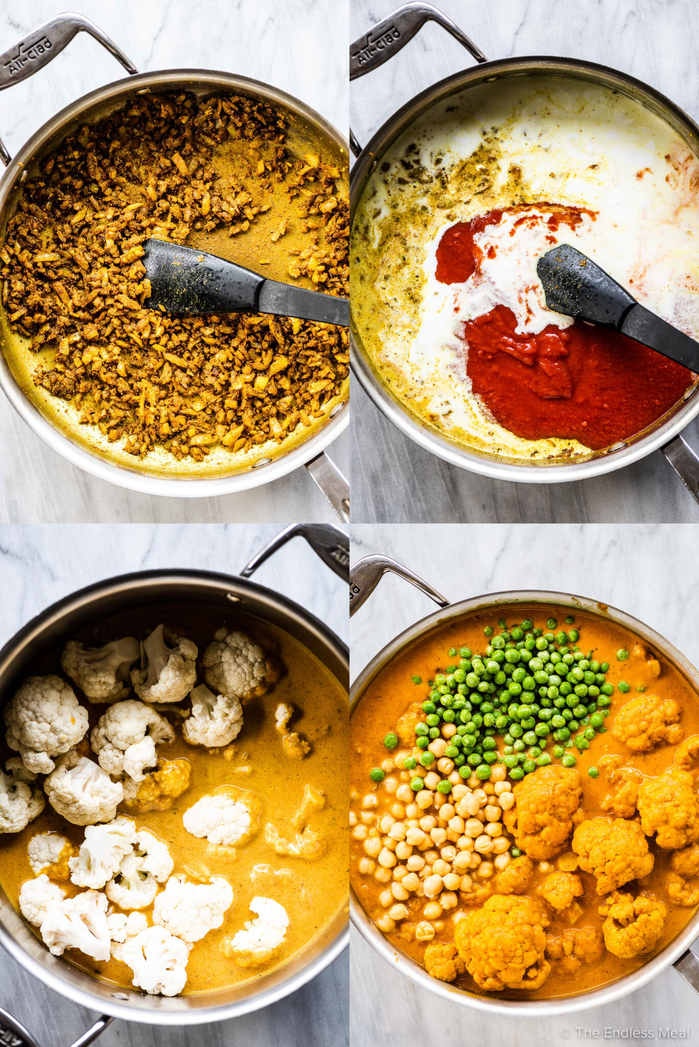 4 pictures showing how to make cauliflower curry.