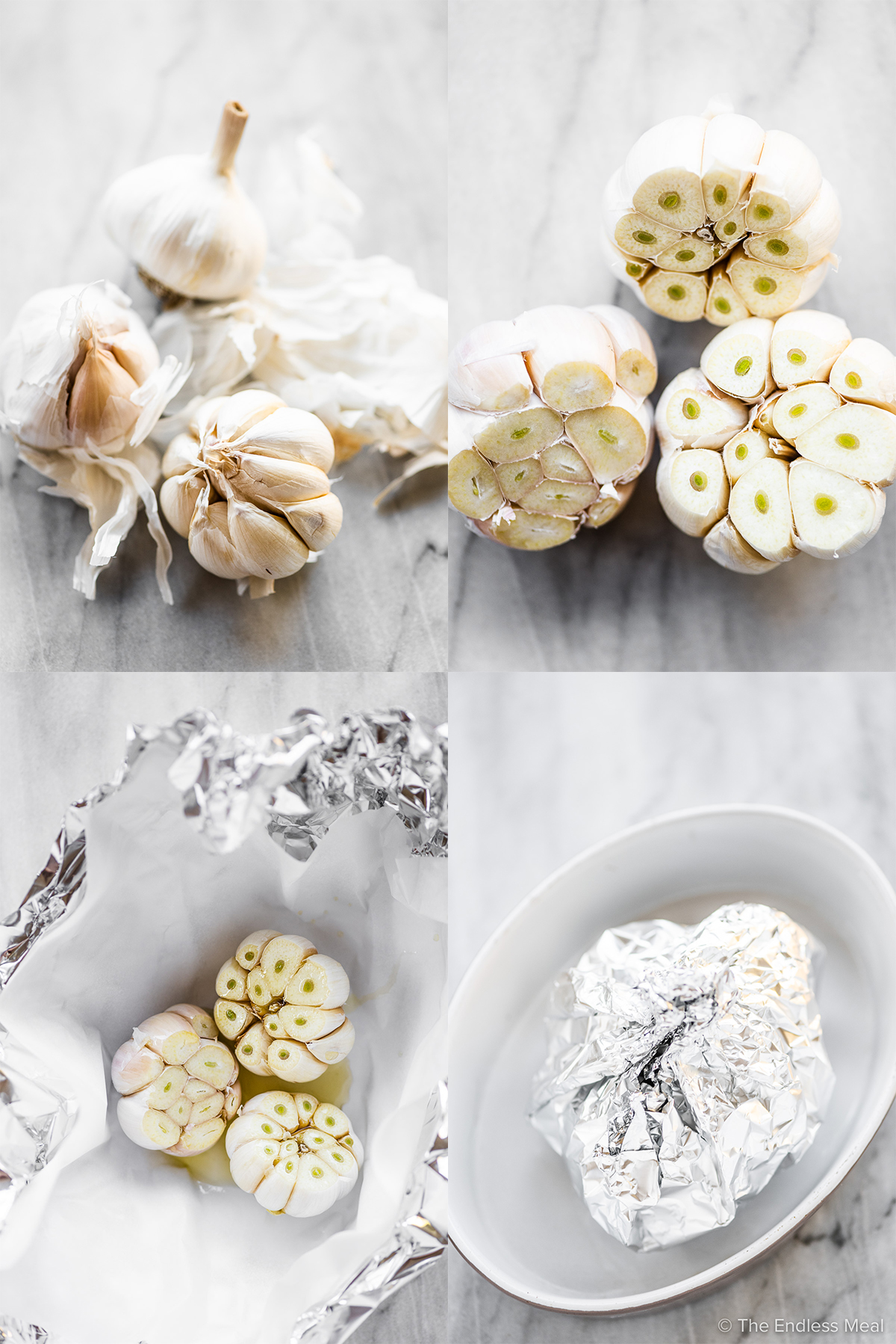 4 images showing how to roast garlic.