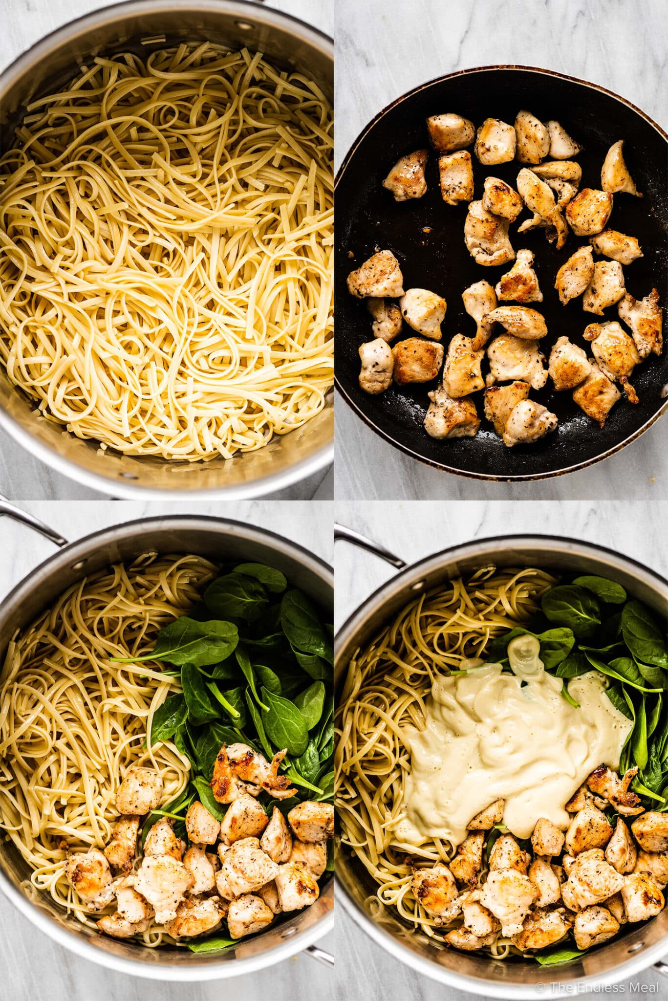 4 pictures showing how to make healthy chicken alfredo.
