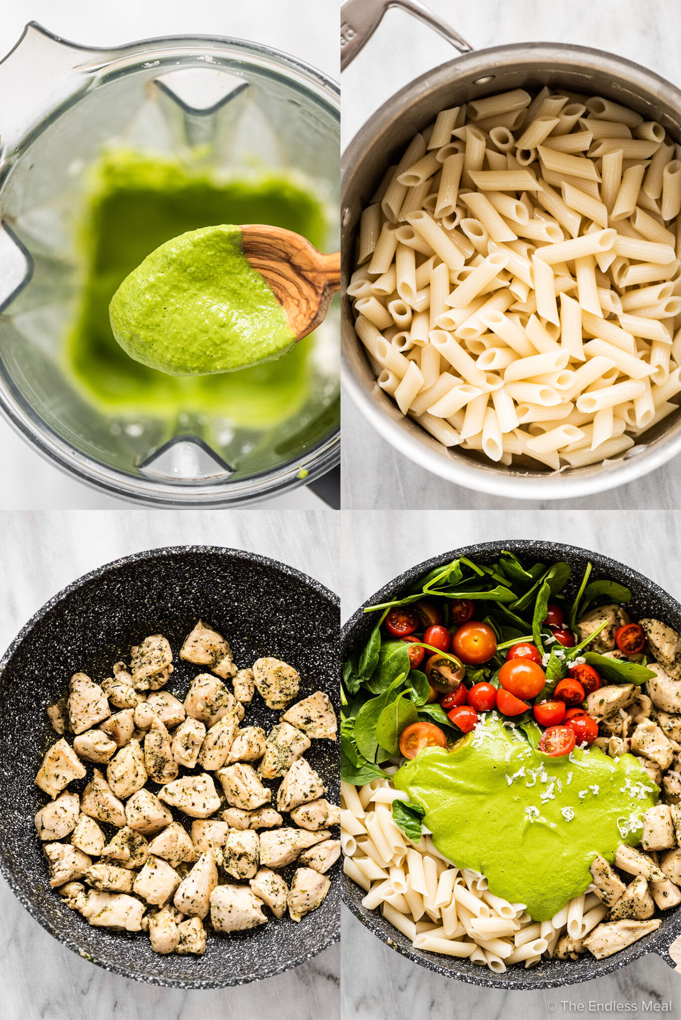 4 pictures showing how to make chicken pesto pasta.