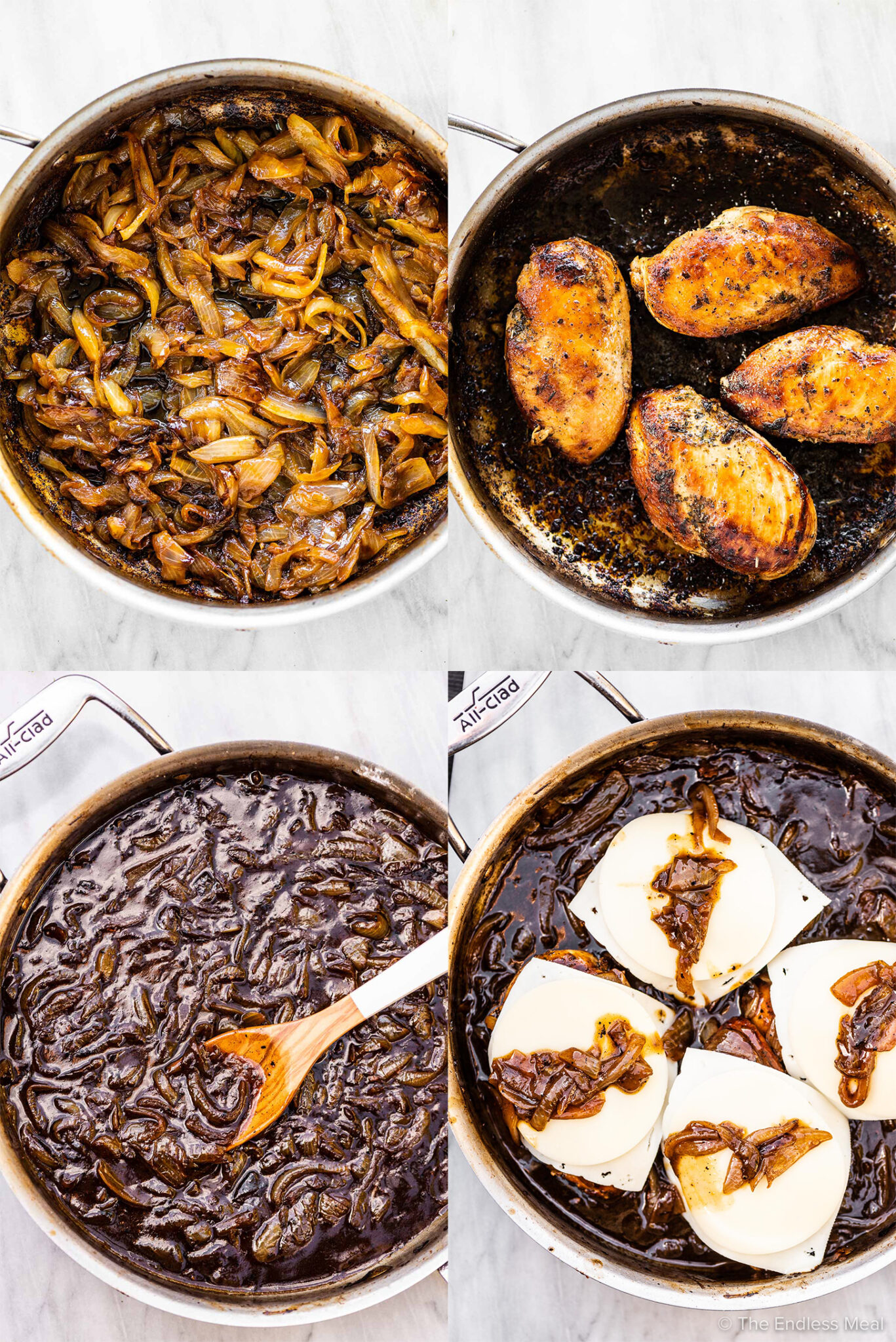 4 pictures showing how to make French onion chicken.