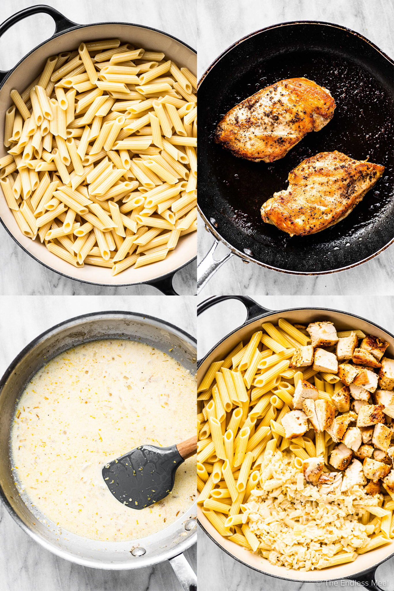 4 pictures showing how to make lemon chicken pasta.