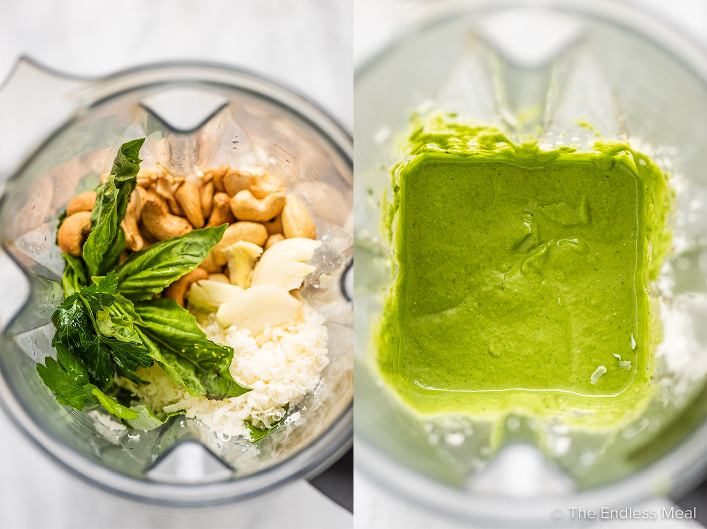 2 pictures showing how to make creamy pesto sauce.