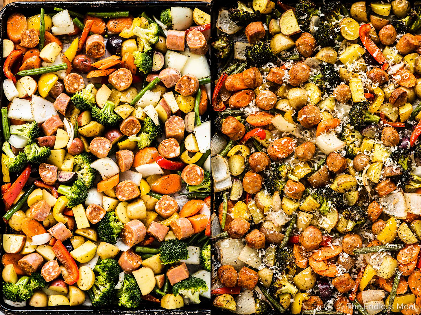 2 pictures showing how to make sheet pan sausages and veggies.