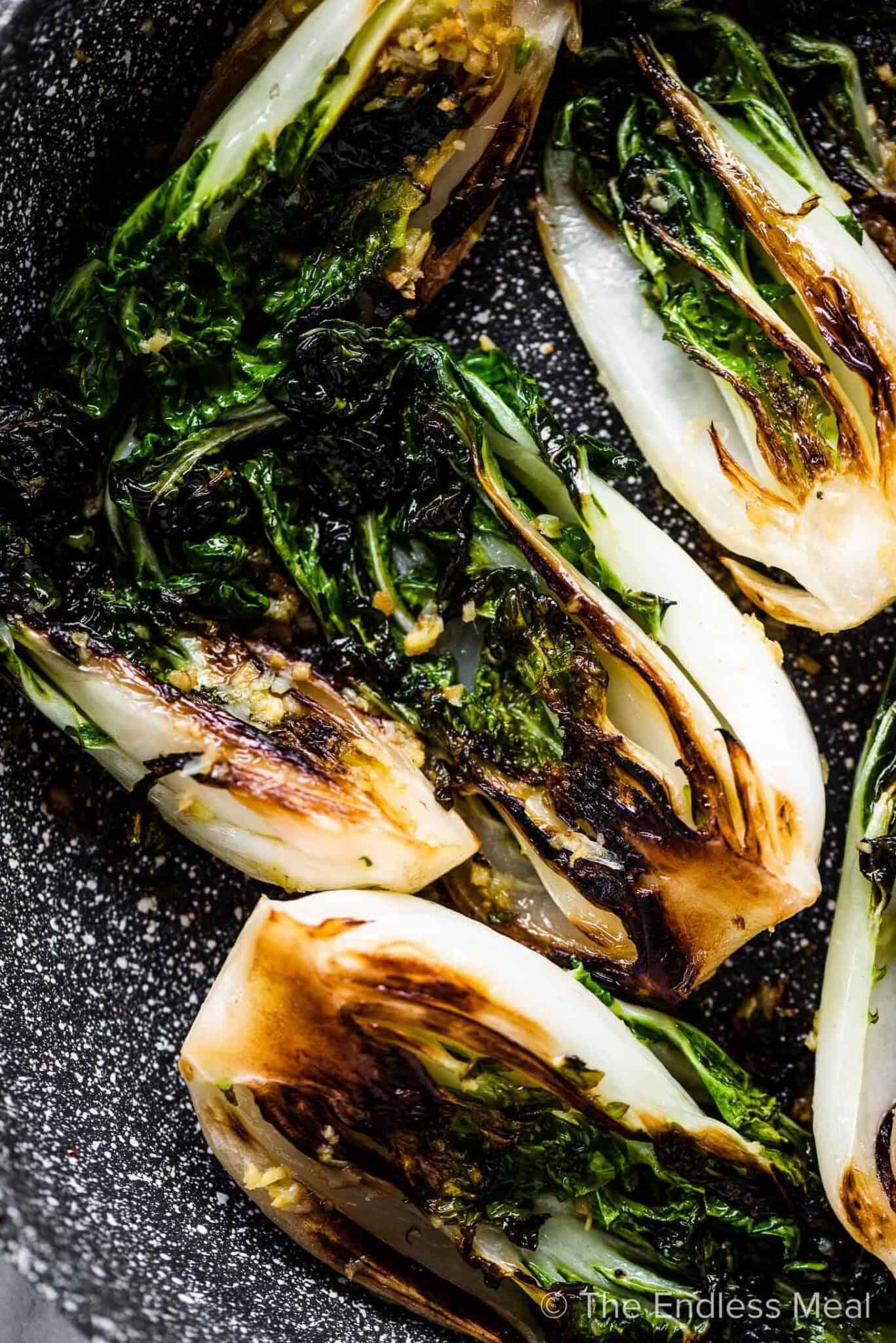 Sautéed Bok Choy in a pan.