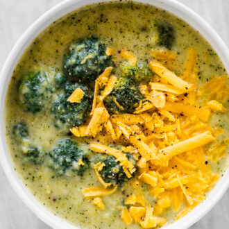 A bowl of broccoli cheddar soup.