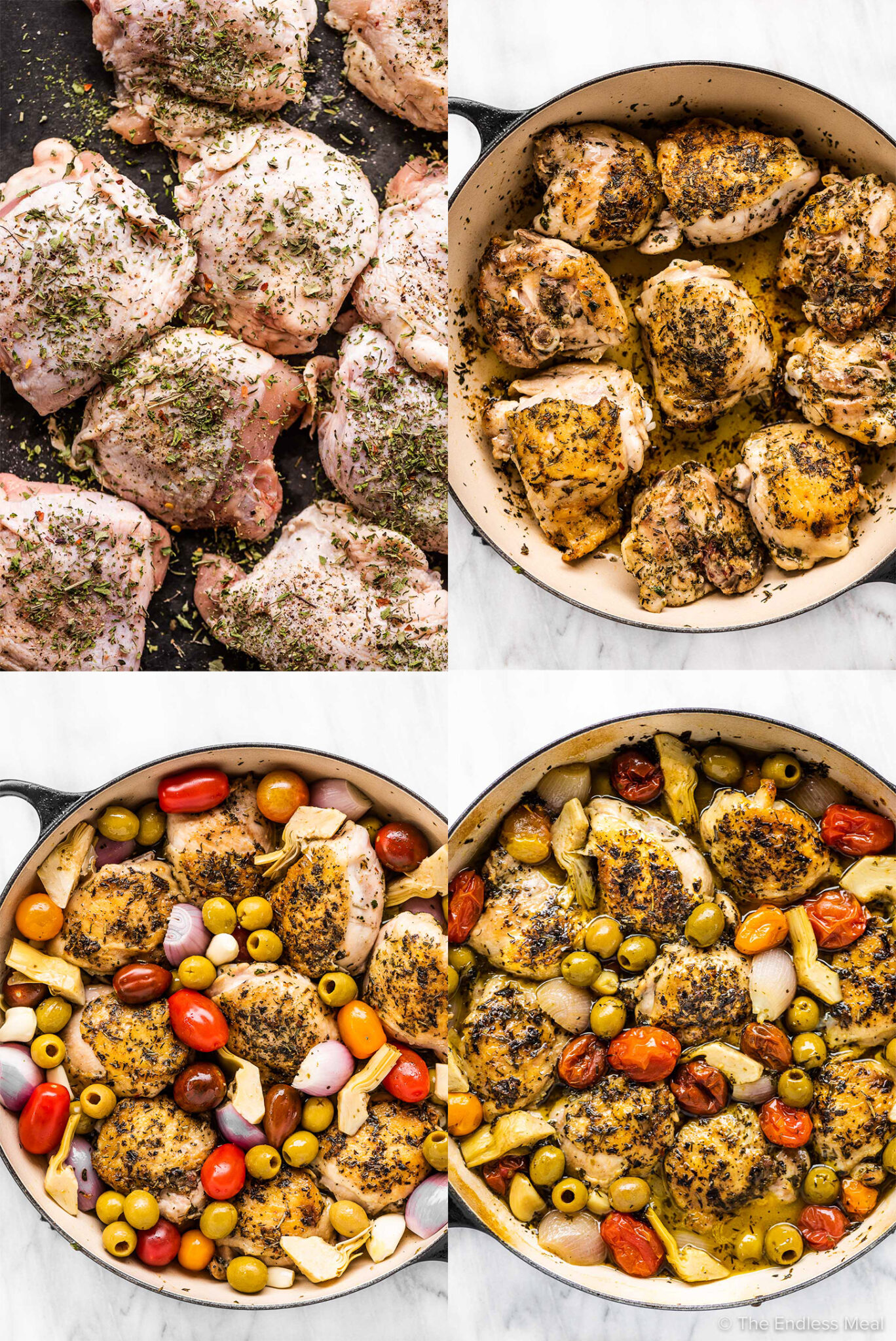 4 pictures showing how to make chicken provencal.